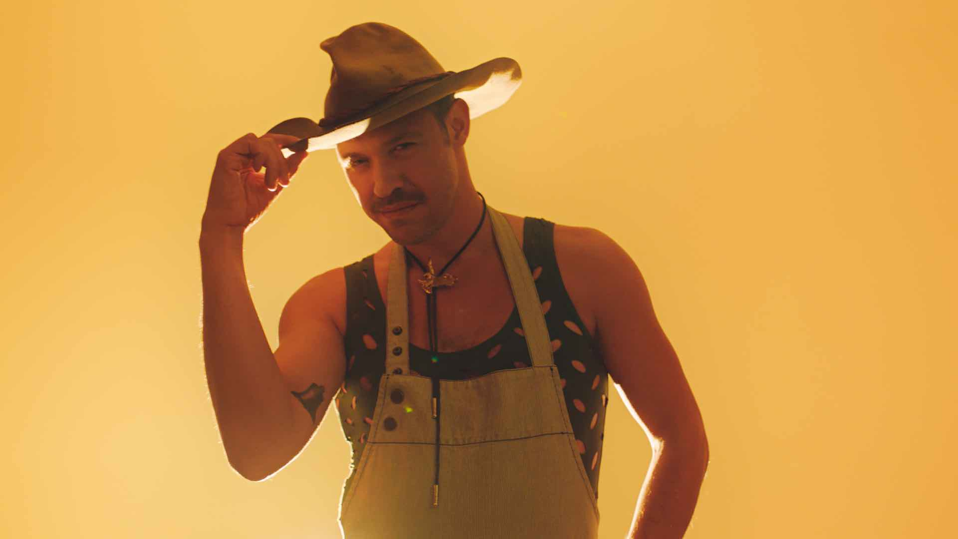 Will Young dressed as a semi-sexy cowboy for some reason... I'm confused by this picture so much